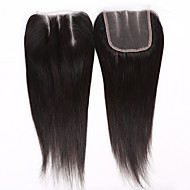 EVAWIGS 2 PCS/package Brazilian Virgin Hair Natural Colour Hair Pieces Lace Closure 3.5x4 Inch Natural Straight 3 Parts