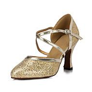 Sapatos de Dança(Dourado) -Feminino-Não Personalizável-Salsa