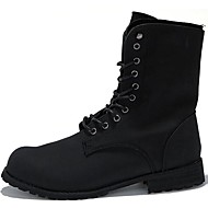 Men's Shoes Synthetic Party & Evening / Casual Boots Party & Evening /  Chunky Heel Lace-up Black / Brown