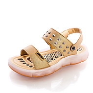 Girl's Sandals Summer Sandals / Round Toe Cowhide Casual Flat Heel Rivet / Others Black / Blue / Yellow / White