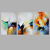 Pintada a mano Abstracto Pinturas de óleo,Estilo europeo Tres Paneles Lienzos Pintura al óleo pintada a colgar For Decoración hogareña