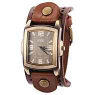 Women's Cool  Vintage Leather Band Rectagulart Case Analog Quartz Layered Bracelet Fashion Watch
