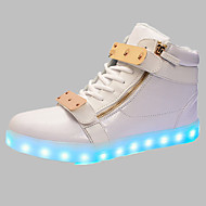 Women's Shoes Leather Flat Heel Comfort Fashion Sneakers Outdoor / Athletic / Casual Black / Red / White LED shoes