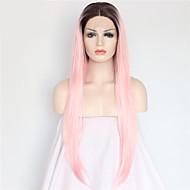 moda longa reta laço sintético peruca frente glueless 1b / perucas cor-de-rosa