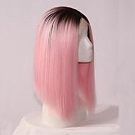 Peruca com Renda Sintético Frente de Malha perucas Curto Rosa claro Cabelo