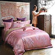 Květinový Povlečení 4 kusy Směs hedvábí a bavlny Luxusní Žakár Směs hedvábí a bavlny Queen / King4 ks (1 x povlak na přikrývku, 1 x