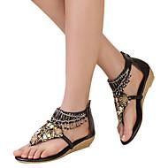 נעלי נשים-סנדלים-דמוי עור-פלטפורמות / מעוגל / פתוח-שחור / חום-שמלה-עקב וודג'