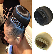 casamento bridal updo chignon bun tranças clipe de extensões de cabelo retas sintéticas