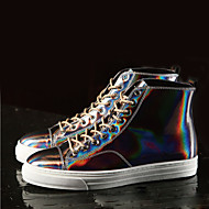 Men's Shoes Cowhide Casual Boots Casual Walking Flat Heel Lace-up Silver