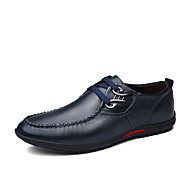 Men's Oxfords Spring Fall Comfort PU Casual Flat Heel Lace-up Others Black Blue Brown Walking