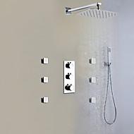 עכשווי מותקן על הקיר תרמוסטטי / מקלחת גשם / שפורפרת יד כלולה with  שסתום פליז שלוש ידיות תשעה חורים for  כרום , ברז למקלחת