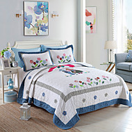100% Cotton Love 3 pieces Quilted Bedspread set ,Two Color King Size
