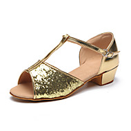 Kids' Dance Shoes Paillette Paillette Latin Heels Flat Heel Practice / Indoor Silver / Gold
