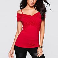 T-shirt Da donna Per uscire Sensuale / Moda città Estate,Tinta unita Con bretelline Cotone Blu / Rosso Manica corta Sottile