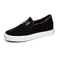 Dame-Lerret-Flat hæl-Komfort-Flate sko-Fritid-Hvit Svart