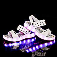 Fille-Décontracté-Blanc Noir Jaune Bleu-Talon Plat-Light Up Chaussures-Sandales-Cuir