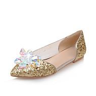 נעלי נשים-שטוחות-לטקס / נצנצים / חומרים בהתאמה אישית-נוחות / בלרינה / שפיץ-כסוף / זהב-חתונה / שמלה / מסיבה וערב-עקב שטוח