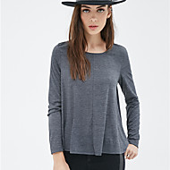 Women's Casual/Daily Street chic Summer T-shirt,Solid / Striped Crew Neck Long Sleeve Gray Cotton / Polyester Opaque