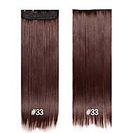 clipe sintético em fibras extensões de cabelo em linha reta cabelo 24inch # 33 120g 60 centímetros 5 clipes de cabelo comprido wowan