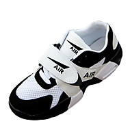 Women's Shoes PU Spring / Fall Round Toe Flats Athletic / Casual Flat Heel Others / Hook & Loop Black / White