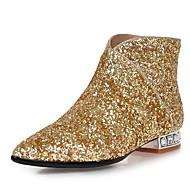 Bootsit-Leveä korko Block Heel-Naiset-Glitter Personoidut materiaalit-Valkoinen Musta Hopea Kultainen-Puku Rento Juhlat-Saappaat