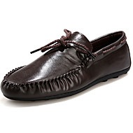 Men's Boat Shoes Comfort Moccasin Cotton PU Spring Fall Casual Walking Comfort Moccasin Flat Heel White Black Brown Flat