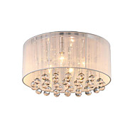 4 Light Simple Round Brushed Crystal Flush Mount Chandelier