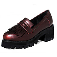 Women's Oxfords Spring / Fall Creepers / Round Toe PU Casual Platform Tassel Black / Burgundy Others