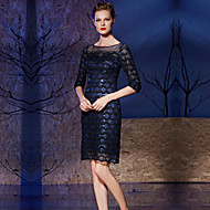 Cocktail Party Dress Sheath / Column Bateau Knee-length Lace / Sequined with Lace / Sequins