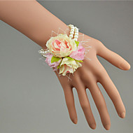 Wedding Flowers Hand-tied Roses Wrist Corsages Wedding Blue / Yellow / Pink Tulle / Lace / Bead