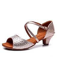 Latin Kid's Dance Shoes Sandals Satin Rhinestone Cuban Heel Champagne/Blue