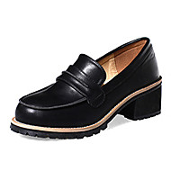 Women's Loafers & Slip-Ons Fall Comfort PU Outdoor Chunky Heel Others Black / Almond Others
