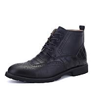 Men's Oxfords Bootie PU Outdoor Flat Heel Lace-up Black / Brown / Gray Walking EU39-43