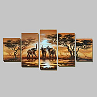 Hand-Painted Modern Abstract Elephant  Sunset African Landscape Oil Painting on Canvas  5pcs/set No Frame