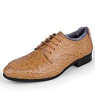 Herre-Lær-Flat hæl-Komfort-Oxfords-Fritid-Svart Blå Brun Gul