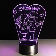 1pc Valentinsdag jeg elsker dig farverige vision stereo LED lampe 3d lampe farverige gradient akryl lampe natlampe vision