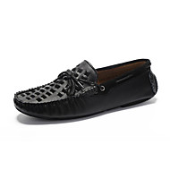 Herre-Lær-Flat hæl-Komfort Mokkasin-一脚蹬鞋、懒人鞋-Fritid-Svart Brun Gul