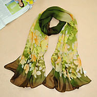 Women's Chiffon Flowers Print Scarf,Green/Purple/Gray/Pink/Blue/Black
