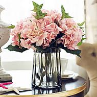 5 ענף משי הורטנזיות פרחים לשולחן פרחים מלאכותיים 46CM