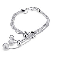 Exquisite Simple Fine S925 Silver Ball Pendant ;ayered Chain Charm Bracelet for Wedding Party Women Christmas Gifts