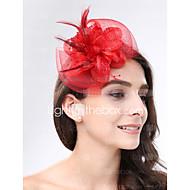 Vrouwen Veren / Net Helm-Bruiloft / Speciale gelegenheden Fascinators 1 Stuk Paars / Zwart / Blauw / Rood / Wit / Fuchsia / Grijs / Beige