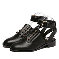 Women's Flats Fall Mary Jane / Round Toe PU Outdoor Flat Heel Rivet Black Others