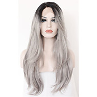 Long Natural Wave Ombre Black Root to Grey Lace Front Wig Synthetic Hair Wigs for Women Half Hand Tied