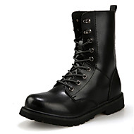 Men's Combat Boots Leather Outdoor Flat Heel Lace-up Black / Brown Snow Boots EU39-45