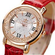Women's Unisex Fashion Watch Quartz / Imitation Diamond PU Band Vintage Black White Red Pink Brand
