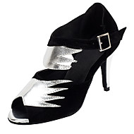 Non Customizable Women's Dance Shoes Flocking Flocking Latin / Salsa Sandals / Heels Stiletto Heel Professional / Indoor
