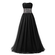 Formal Evening Dress Ball Gown Sweetheart Floor-length Tulle with Crystal Detailing