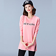 Women's Plus Size / Casual/Simple / Fall T-shirt,Letter Round Neck Long Sleeve Pink/White/Black/Brown Cotton Medium
