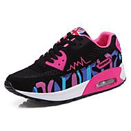 Feminino-Tênis-Conforto-Rasteiro-Rosa Branco Fúcsia-Tule-Casual Para Esporte