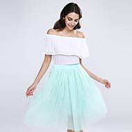 Women's Sexy Casual Cute Inelastic Thin Midi Skirts (Mesh)